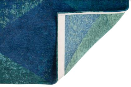 niebieski dywan geometryczny lisboa saphir blue 9052 zawinięty róg