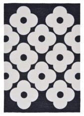 Czarny Dywan w Kwiaty - SPOT FLOWER BLACK 460805 - widok z góry