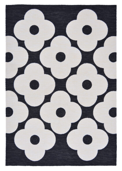 Czarny Dywan w Kwiaty - SPOT FLOWER BLACK 460805
