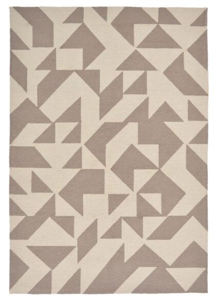 Beżowo-Brązowy Nowoczesny Dywan w Geometryczny Wzór - YERBA 411601