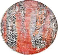 Okrągły Pomarańczowo Szary Ekskluzywny Dywan 3D - SEDUCTION ROUND 840234 - widok z góry