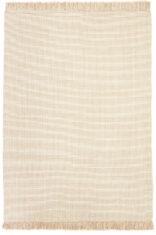 Dywan wełniany z frędzlami, w kolorze białym - NORDIC FLAIR WHITE - widok z góry