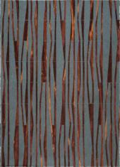 Nowoczesny brązowo szary dywan ze wzorem bambusa - BAMBOO 9165 - widok z góry