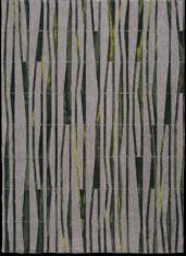 Nowoczesny zielono szary dywan ze wzorem bambusa - BAMBOO 9166 - widok z góry