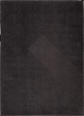 Nowoczesny czarny dywan ze wzorem suchego japońskiego ogrodu - NIHON 9168 - widok z góry