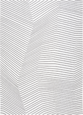 Biały dywan geometryczny w czarne linie - SAN ANDREAS WHITE BLACK 9170 - widok z góry