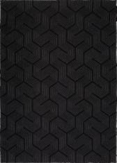 Czarny dywan ze srebrną nitką - LABIRYNT PENTI BLACK 9173 - widok z góry