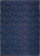 Granatowy dywan ze wzorem laniryntu - LABIRYNT BALTIC BLUE 9174 - widok z góry