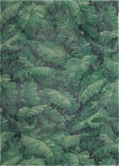 Nowoczesny zielony dywan w liście - MANAUS 9177 - widok z góry