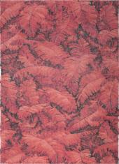 Nowoczesny czerwony dywan w liście - MANAUS 9180 - widok z góry