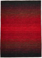 Czarno Czerwony Dywan Wełniany - PANORAMA KELIM BLACK RED - widok z góry